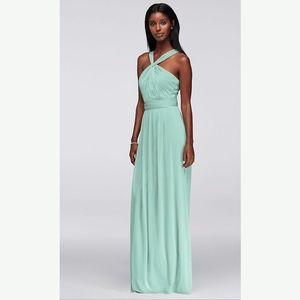 Mint Y-Neck Long Mesh Grecian Dress
